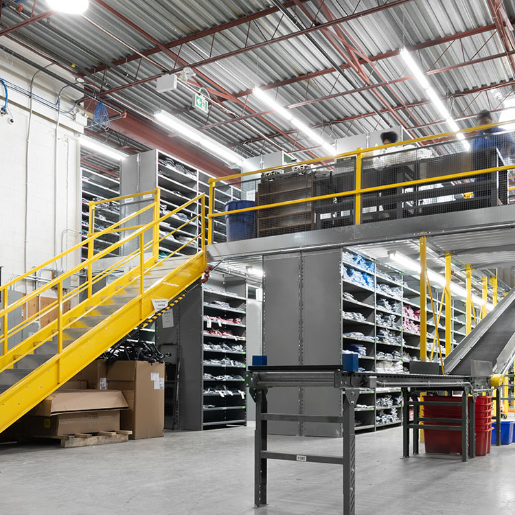 multi level shelving for clothing and apparel distribution