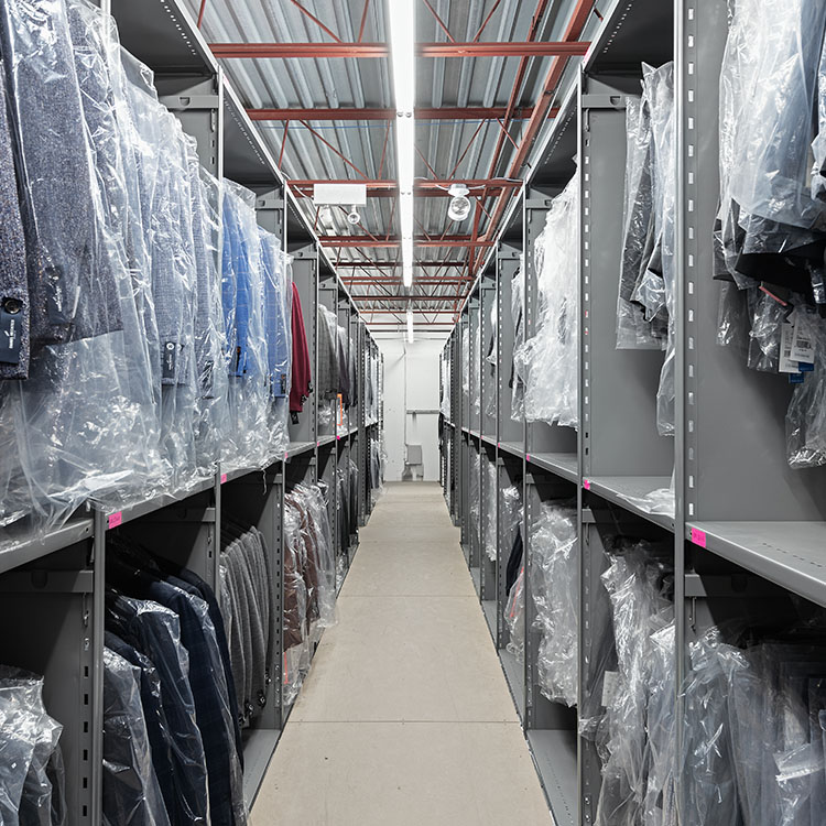 shelving for clothing and apparel distribution