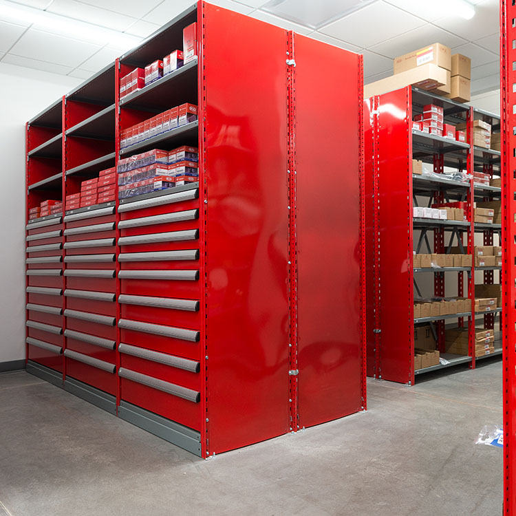 closed shelving with modular drawers red