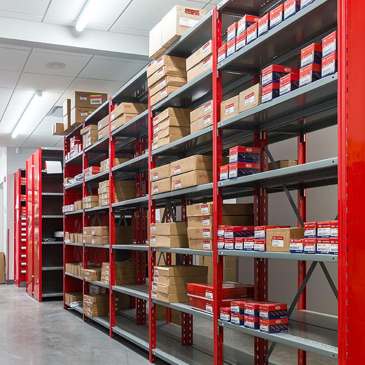 red adjustable metal shelving red sides T post