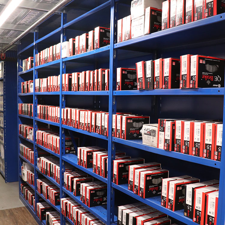 industrial shelving for part storage in blue