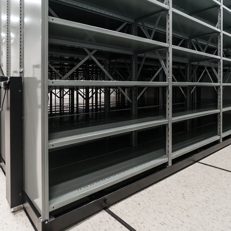 shelving with sway braces and side panels on mobile cart