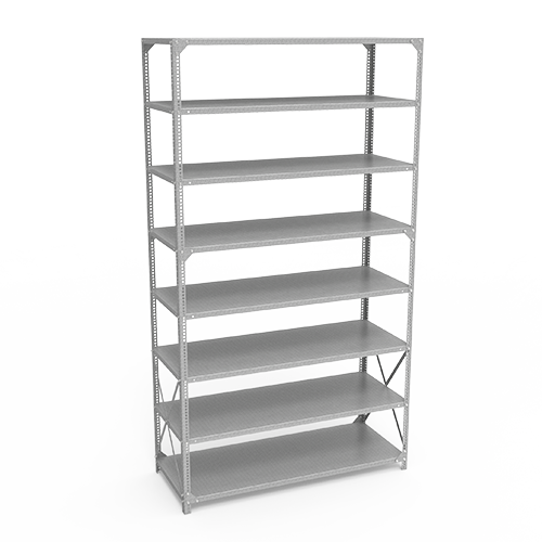 galvanized shelving with slotted angle post