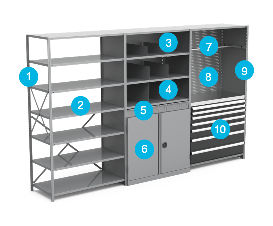 complete shelving system and accessories